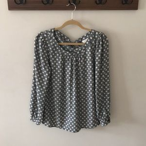 Ann Taylor Loft patterned blouse with back tie.